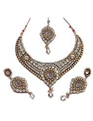 Elegant Elements Zircon And Colored Stone Stud Royal Vintage Necklace Set For Women EEN68