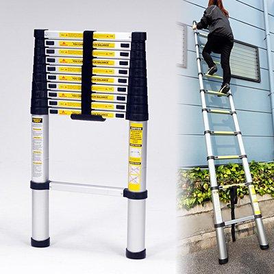 最長3.2メートル安心のダブルロック構造【アルミ伸縮はしご】