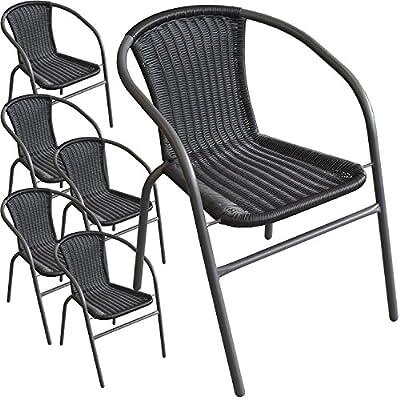 6 Stück Bistrostuhl Stapelstuhl Gartenstuhl Balkonstuhl stapelbar pulverbeschichtetes Metallgestell mit Poly-Rattanbespannung Schwarz / Anthrazit von Multistore 2002 auf Gartenmöbel von Du und Dein Garten