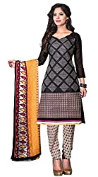 Dress Material Chanderi Black Embroidered + Lace Unstitched