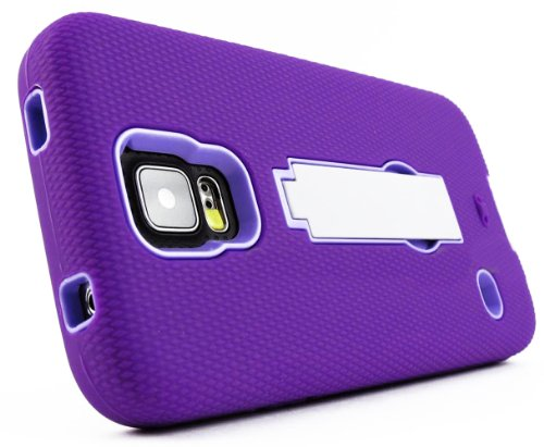 Mylife Violet Purple And Lavender Purple - Shock Suit Survivor Series (Built In Kickstand + Easy Grip Silicone) 3 Piece + 2 Layer Case For New Galaxy S5 (5G) Smartphone By Samsung (External Flex Silicone Bumper Gel + Internal 2 Piece Rubberized Snap Fitte