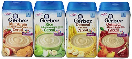 Gerber Baby Cereal Assorted Flavor Variety Pack: Oatmeal & Peach Apple Cereal, Rice & Banana Apple Cereal, Oatmeal & Banana Cereal, MultiGrain & Apple Sweet Potato Cereal. Bundle of 4- 8oz Containers. (Gerber Banana Rice Cereal compare prices)