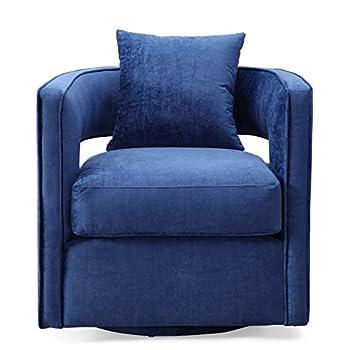 Tov Furniture TOV-L6124 Kennedy Modern Handmade Velvet Swivel Chair, Navy