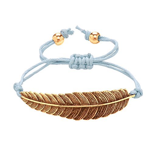 Front Row Rose Gold Colour Feather and Blue Cord Bracelet