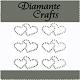 6 x 31mm Clear Diamante Double Hearts Self Adhesive Craft Rhinestone Embellishment Gems - created exclusively for Diamante Crafts