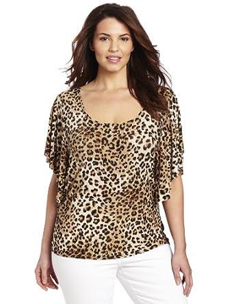 Star Vixen Women's Plus-Size Butterfly Top, Animal Print, 2X