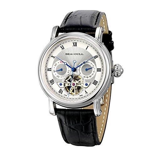 sea-gull gabbiano orologio 819.428 uomini moda automatico in acciaio meccanico impermeabile zaffiro sintetico cinturino in pelle di cristallo