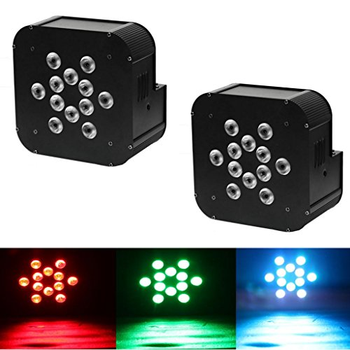 Yiscor Stage Lighting Led Par Light 12Leds 12X10W Rgbw 4In1 Dmx512 Mixing Colors For Home Garden Party Dj Disco Club Effect (Pack Of 2)