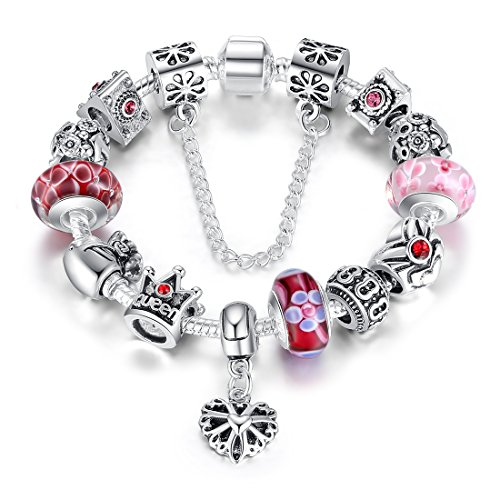 Wostu Queen Jewelry Silver Charms Bracelet  Queen