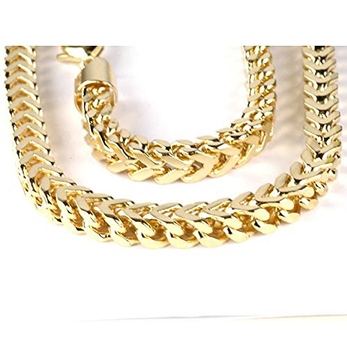 14K-Yellow-Gold-Mens-Franco-Chain-Necklace-6-mm-wide-lobster-clasp-28-Inch-long