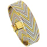 Sterling Silver Italian 21-Row 16.1 mm (5/8 in.) Tri-Color Chevron Riccio Bracelet, 7 inch