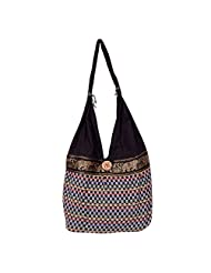 Womaniya Canvas Black Handbag For Women(Size-32 Cm X 32 Cm X 10 Cm) - B00SJ1ION2
