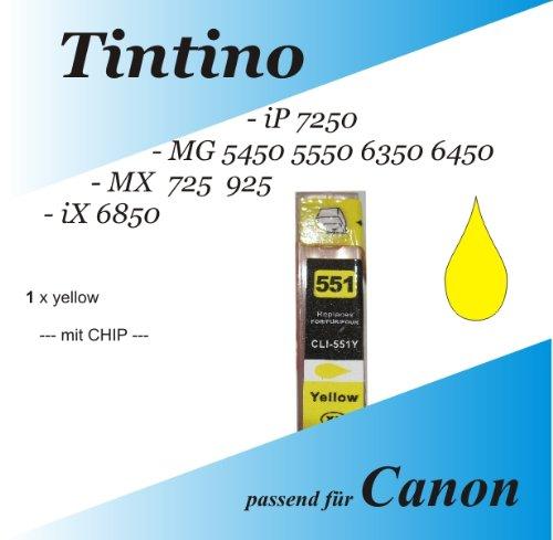 1 kompatible gelb iP 7250 MG 5450 5550 6350 6450 MX 725 925 iX 6850 - Canon Pixma kompatible Tintenpatronen XL Cli 551 = 1 x yellow + Chip + Füllstandsanzeige