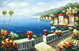Impression Mediterranean Landscape / Scenery, Seascape with Architecture, Handmade Oil Painting on C