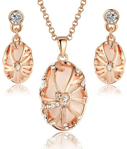 Arco Iris Rose Gold Plated Vintage Oval Shape Pendant Necklace and Earrings Set for Women - 3017701