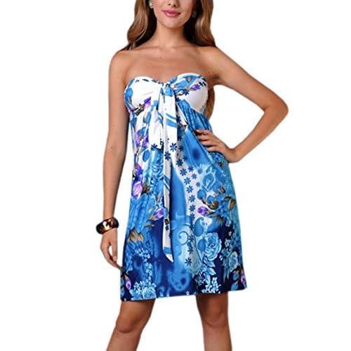 Womens Angela Bandeau Tube Knee Length Summer, Holiday Dress