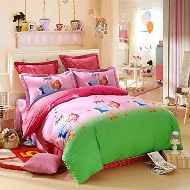 QQI LOVO KID'S Sweet Pink Ostrich Love 100% Cotton 300-Thread-Count Bedding Sheet Set