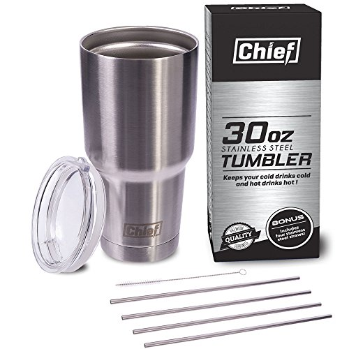 Chief 30oz Stainless Steel Tumbler Bundle With Premium Quality 18/8 Stainless Steel Insulated Tumbler Cup + 4 Stainless Steel Straws + Straw Cleaner