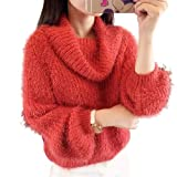 ELPIS オフ タートル シャギー ニット セーター モヘア ふわふわ ゆる やわらか レッド グリーン(レッド)