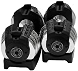 XMark Pair of Adjustable 50 lb. Dumbbells (Set of 2)
