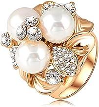 Comprar AnaZoz Joyería de Moda Anillo Tres Perla 18K Chapado en Oro Cristal Austria Anillo Lindo Para Mujer
