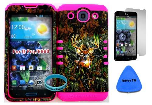 Lg Optimus G Pro E980 Camo Mossy Hunter Series Deer Plastic Snap On + Pink Silicone Kickstand Cover Case (Screen Protector, Pry Tool & Wireless Fones Tm Wristband Included) front-654566
