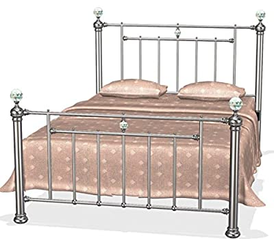 Bella Designer Black Nickel Bed Frame in Kingsize 5ft with Luxurious Crystal Finials