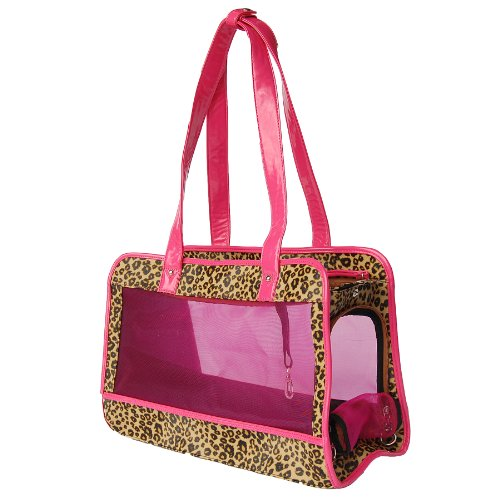 Anima Cheetah Print Mesh Carrier with Pink Trim, 15-Inch by 7-Inch by 10.5-Inch
