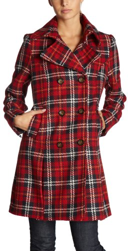 Tommy Hilfiger Women's Plaid Notch Collar, Red Plaid, 4