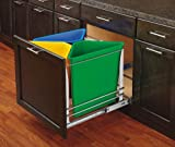 Rev-A-Shelf - 5BBSC-WMDM24-C - Multi-Color Three Bin Recycling Center with Soft-Close Slides