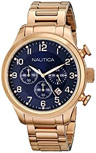 Nautica Men's N20118G BFD 101 CHRONO Analog Display Quartz Rose Gold Watch