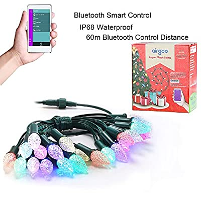 Airgoo® Smartphone Control Waterproof Led String Lights Outdoor for Party Holiday Home Indoor Decoration - 30ft, Multicolor Lighting-Change the Color and Theme for more than 100 total effects!