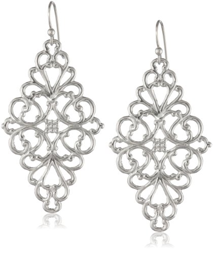 """1928 Jewelry Silver-Tone Filigree Diamond-Shape Drop Earrings, 2"""""""