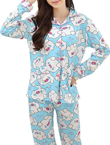 VENTELAN Women's Cute Pattern Pig Printed Cardigan Pajamas Set Lapel Sleepwear