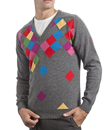 GMR Glenmuir Mens Lambswool Waterfall Argyle V-Neck Fitted Sweater by GMR Glenmuir