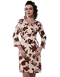 Purys Women's Bodycon Dress (E-150693SP7242_Beige Brown purple_S)