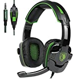 Gaming Headset with Microphones In-line Volume Control for New Xbox One PS4 PC Mac iPad iPod Laptop Computer Smart phones, Sades SA930 3.5mm Wired Noise Isolation Bass Surround Over-Ear Headphones (Color: SA930)