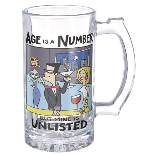 "Grasslands Road Times Are Changing ""Age Is A Number But Mine Is Unlisted"" 15-Ounce Glass Beer Stein"