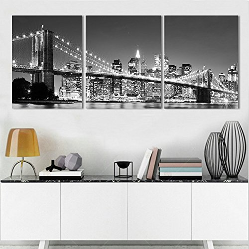 XrsArt 3 Piece Modern wall Painting New York Brooklyn bridge Home Decorative Art Picture Paint on Canvas Prints (Unframed) Unframed FCa32 36 inch x16 inch (New York Brooklyn Bridge Poster compare prices)