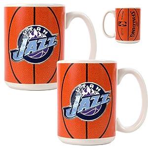 Utah Jazz NBA 2pc Ceramic Gameball Mug Set - Primary Logo by Great American