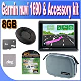 Garmin nuvi 1690 4.3-Inch Portable Bluetooth Navigator with Google Local Search & Real-Time Traffic Alerts + Friction Dash Pad Mount + 8GB Micro SD Memory + Zing Micro Fiber Cleaning Cloth + GPS Screen Protectors + Shock Proof Deluxe GPS Case!