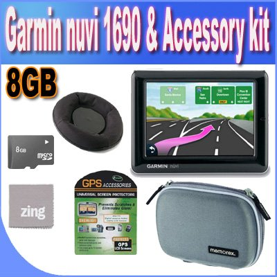 Garmin nuvi 1690 4.3-Inch Portable Bluetooth Navigator with Google Local Search &#038; Real-Time Traffic Alerts + Friction Dash Pad Mount + 8GB Micro SD Memory + Zing Micro Fiber Cleaning Cloth + GPS Screen Protectors + Shock Proof Deluxe GPS Case!