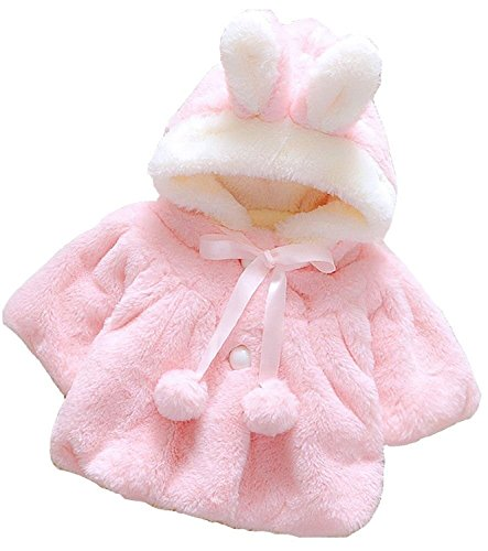 Baby Girl Fur Winter Warm Coat Cloak Jacket Thick Warm Clothes 6-12Months Pink