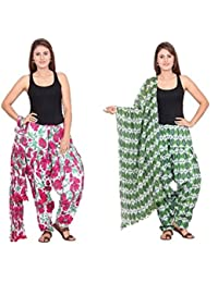 Rama Set Of 2 Floral Print Green & Pink Colour Full Patiala With Dupatta Set