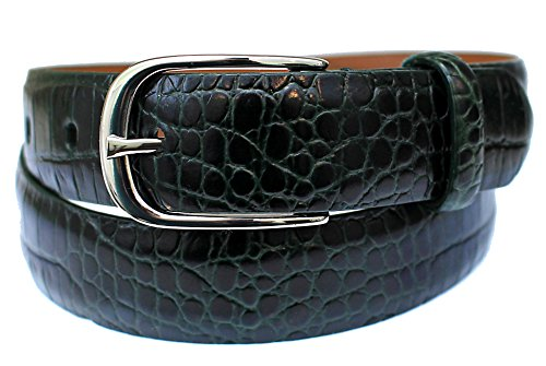 Ralph Lauren Womens Size S Spruce Green Croc Embossed Leather Belt, Small