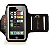 JAMhard Armband For iPhone 5 / 5S / 5C, iPod Touch 5 + Key Holder (Black) - High Quality Running, Workout & Sports Armband Case