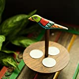 """ExclusiveLane Circular Wooden Engraved Tealight Holder From """"Bird Collection """" In Sheesham Wood- For Gift / Home..."""