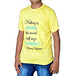 revin yellow with black colour round neck graphic tshirt