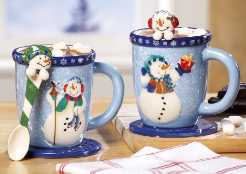 Snowman Holiday Mug and Spoon Gift Set Christmas Holiday & Seasonal Décor