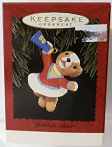 "Girl Teddy Bear Cheerleader with Megaphone ""Yuletide Cheer"" Christmas Ornament - Hallmark Keepsake 1996 Series"